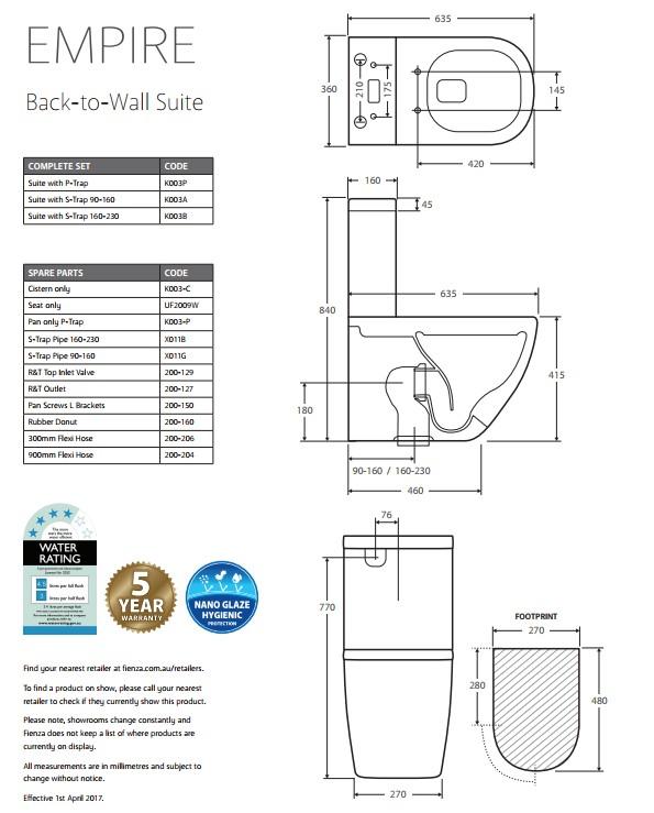Empire  BTW Toilet Suite specs