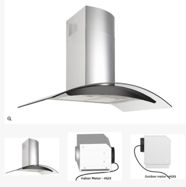 DiLusso CH903GSTL 900mm Stainless Steel & Curved Glass Canopy Rangehood