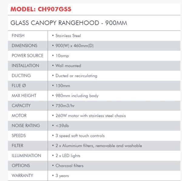 DiLusso CH907GSS 900mm Slimline glass Canopy Rangehood