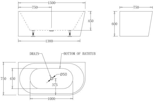 Kiato Corner Bath Left 1500mm Specs