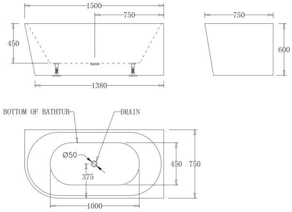 Kiato Corner Bath Right 1500mm Specs